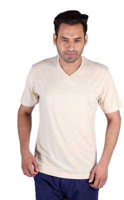 Humbert Solid Men's V-neck Beige T-Shirt