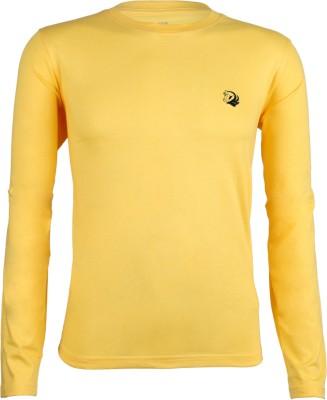John Caballo Solid Men's Round Neck Yellow T-Shirt