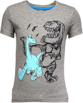 Teesort Graphic Print Boy's Round Neck Grey T-Shirt