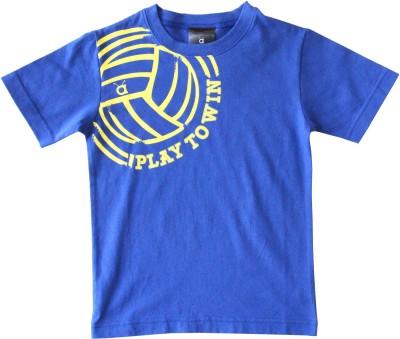 Anthill Printed Boy's Round Neck Blue, Yellow T-Shirt