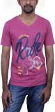 Caddo Printed Men's V-neck Pink T-Shirt