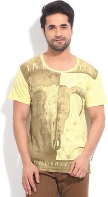Indicode Printed Men's Round Neck Yellow T-Shirt