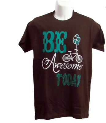 Revinfashions Printed Men's Round Neck Brown T-Shirt