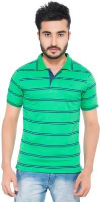 Fabilano Striped Men's Polo Neck Green T-Shirt