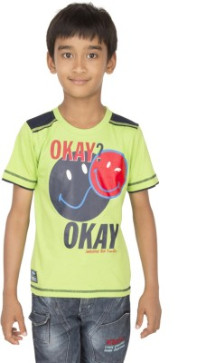 Ocean Race Printed Boy's Round Neck Light Green, Blue T-Shirt
