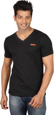 Poshuis Solid Men's V-neck Black T-Shirt