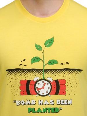Rootstock Printed Men's Round Neck Yellow T-Shirt
