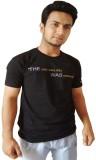 Affingo Printed Men's Round Neck Black T...