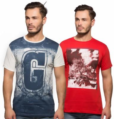 Yo Republic Printed Men's Round Neck White, Red T-Shirt