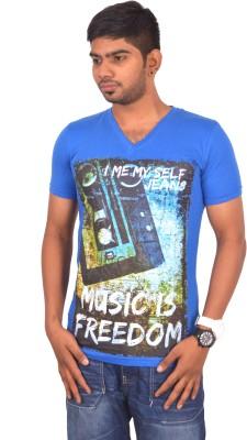 Rogue Printed Men's V-neck Blue T-Shirt