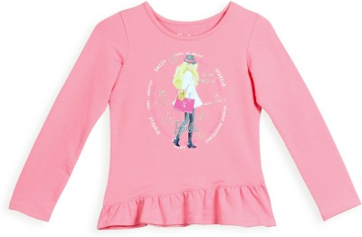 Barbie Graphic Print Girl's Round Neck Pink T-Shirt