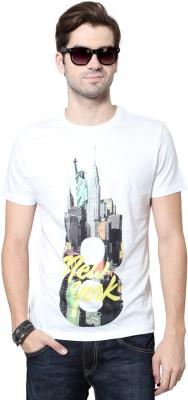 People Printed Men's Round Neck White T-Shirt