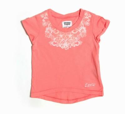 Levi's Printed Girl's Round Neck Orange T-Shirt