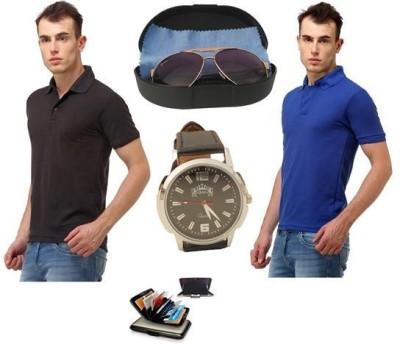 Tele Queen Solid Men's Polo Neck Black, Purple T-Shirt