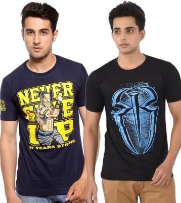WWE Printed Men's Round Neck Dark Blue T-Shirt