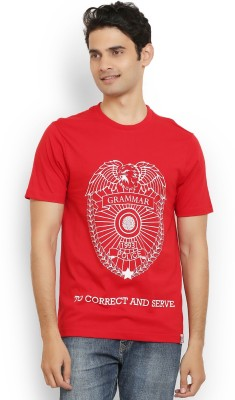 Police Printed Men's Round Neck Red T-Shirt