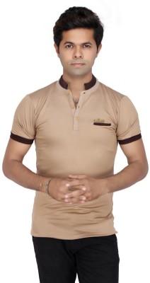 JG FORCEMAN Solid Men's Mock Neck Gold T-Shirt