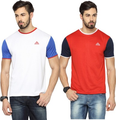 Canyons Solid Men's Round Neck White, Red T-Shirt