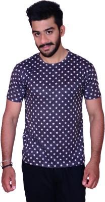 Inez Printed Men's Round Neck Black T-Shirt