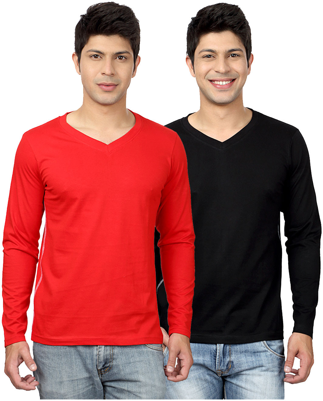 Top Notch Solid Mens V-neck White, Black T-Shirt(Pack of 2)