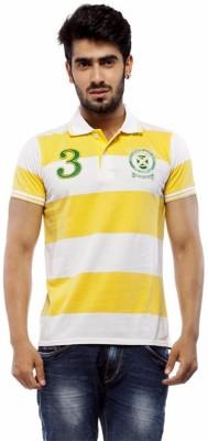 Trendy Bandey Striped Men's Peter Pan Collar White T-Shirt