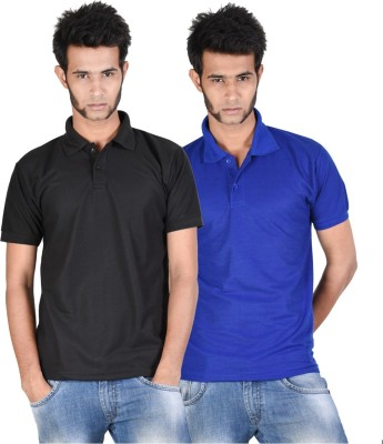 Whistle Solid Men's Polo Neck Black, Blue T-Shirt