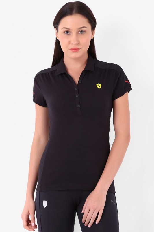 Puma Solid Women's Polo Black T-Shirt
