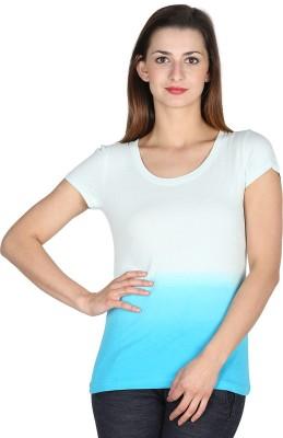 Modimania Self Design Women's Round Neck White, Blue T-Shirt