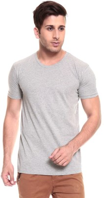 Faded Finch Solid Men's Round Neck Grey T-Shirt