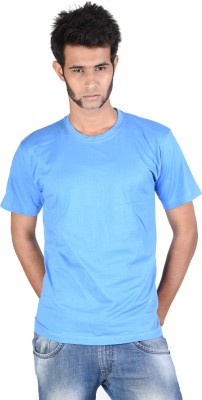 Whistle Solid Men's Round Neck Light Blue T-Shirt