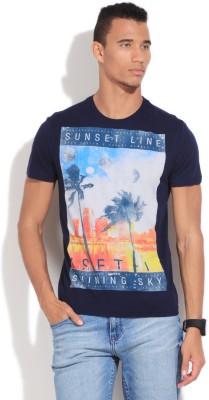 GAS Printed Men's Round Neck Blue T-Shirt