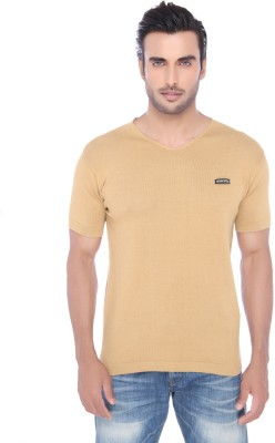 Springfield Solid Men's V-neck Brown T-Shirt