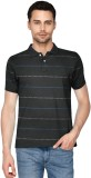 Humtees Striped Men's Polo Neck Grey T-S...