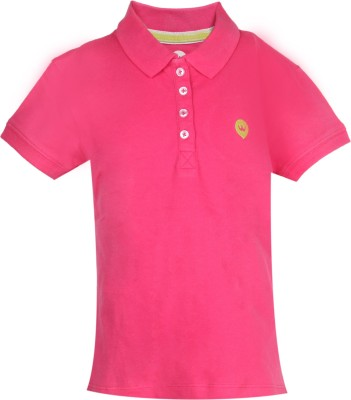Vitamins Solid Girl's Polo Neck Pink T-Shirt