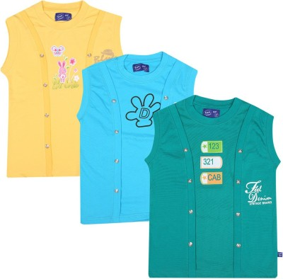 SPN Garments Printed Girl,s Round Neck Yellow, Blue, Green T-Shirt