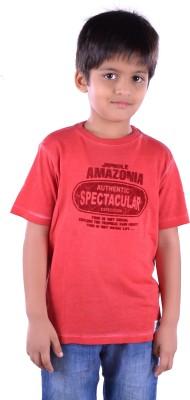 Colsa Graphic Print Boy's Round Neck Orange T-Shirt