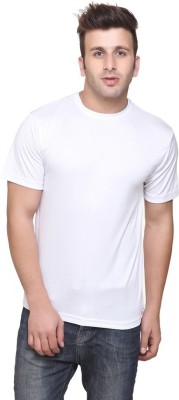 Friskers Solid Men's Round Neck White T-Shirt