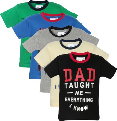 MamaMia Printed Boy's Round Neck Black, Blue, White, Grey, Green T-Shirt