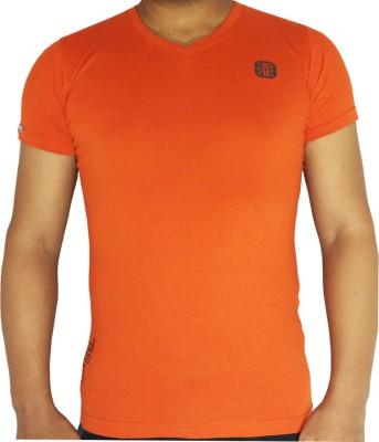 flamingo Solid Men's V-neck Orange T-Shirt