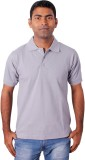 Grass Solid Men's Polo Neck Grey T-Shirt
