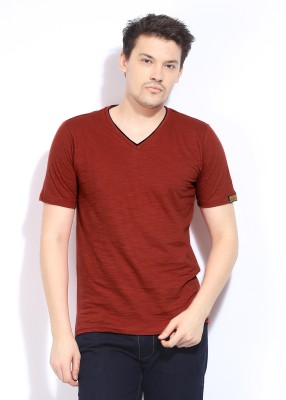 Chromozome Solid Men's V-neck Red T-Shirt