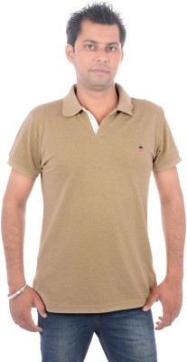 Wells Smith Solid Men,s Polo Beige T-Shirt
