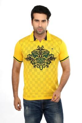 GOT IT Embroidered Men's Mandarin Collar Yellow T-Shirt