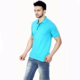 Gumality Solid Men's Polo Neck Light Blu...