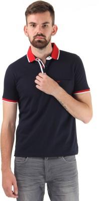 Cloak & Decker Solid Men's Polo Neck Dark Blue T-Shirt
