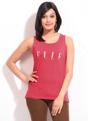 Elle Solid Women's Round Neck Pink T-Shirt