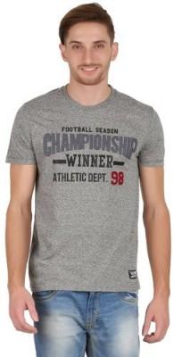 Hawk Knext Printed, Applique Men's Round Neck Grey T-Shirt