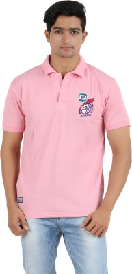 R - Cross Solid Men's Polo Neck Pink T-Shirt