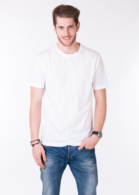 Pick Indiana Solid Men's Round Neck White T-Shirt