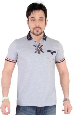 Moncheri Printed Men's Fashion Neck Grey T-Shirt